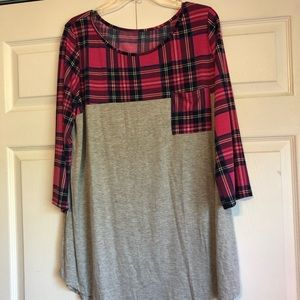 Tops - Pink plaid and gray top